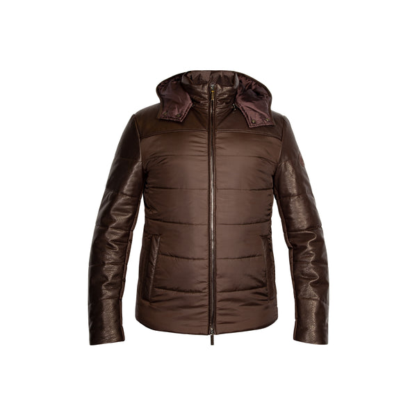 Dark Brown Leather and Nylon Coat