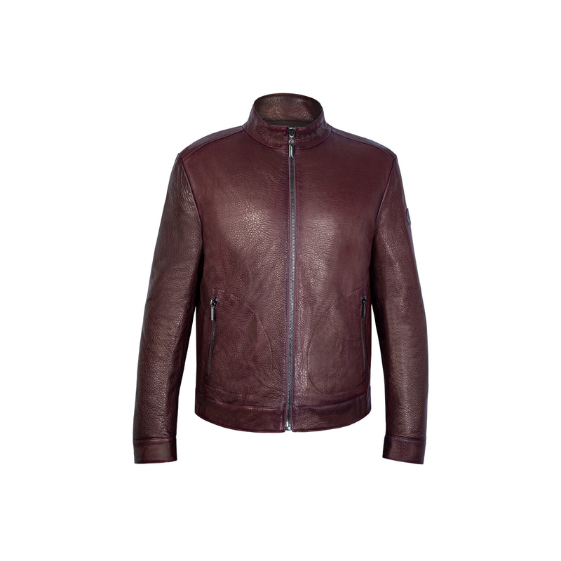 Bordeaux reversible Bomber in leather and nylon