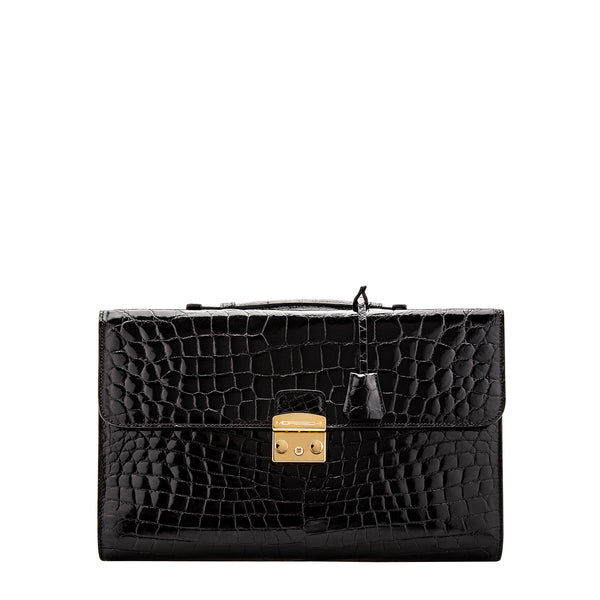 Black crocodile leather Briefcase