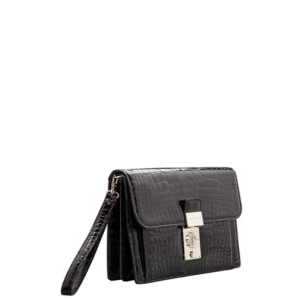 Black crocodile handbag