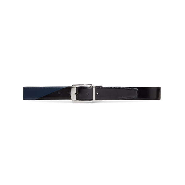 Black and blue twinface calfskin belt