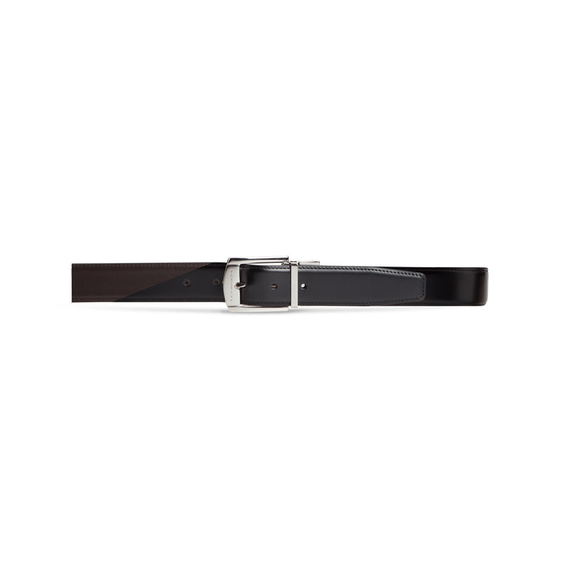 Black and brown twinface calfskin belt