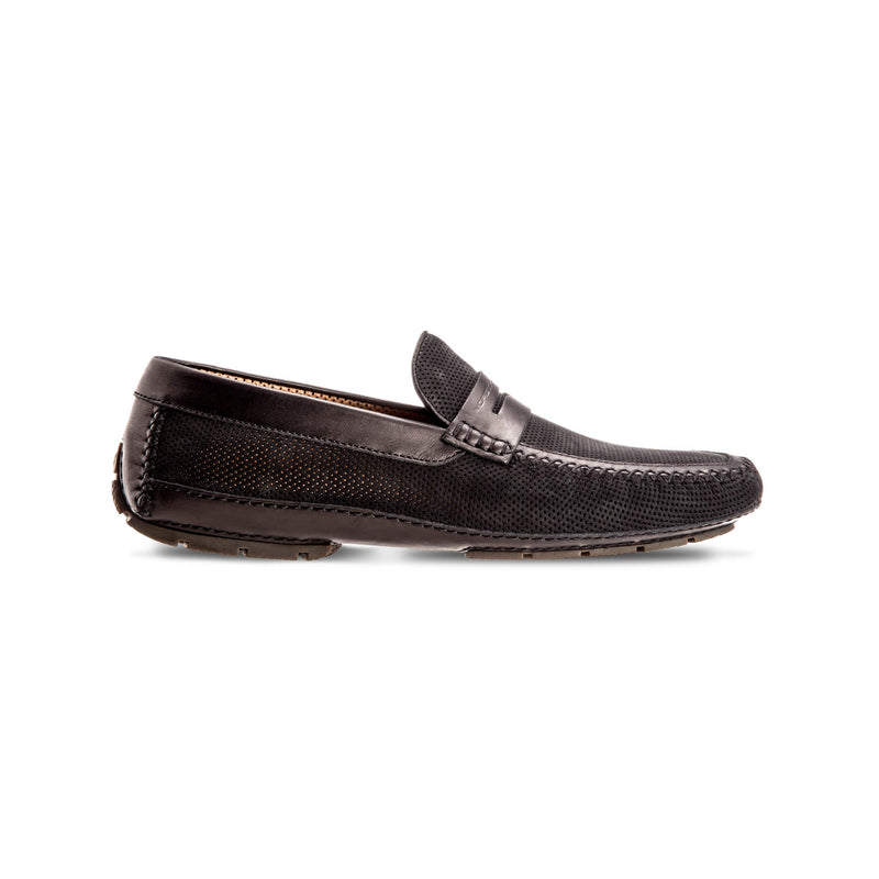 Black Suede and perforated leather driver shoes