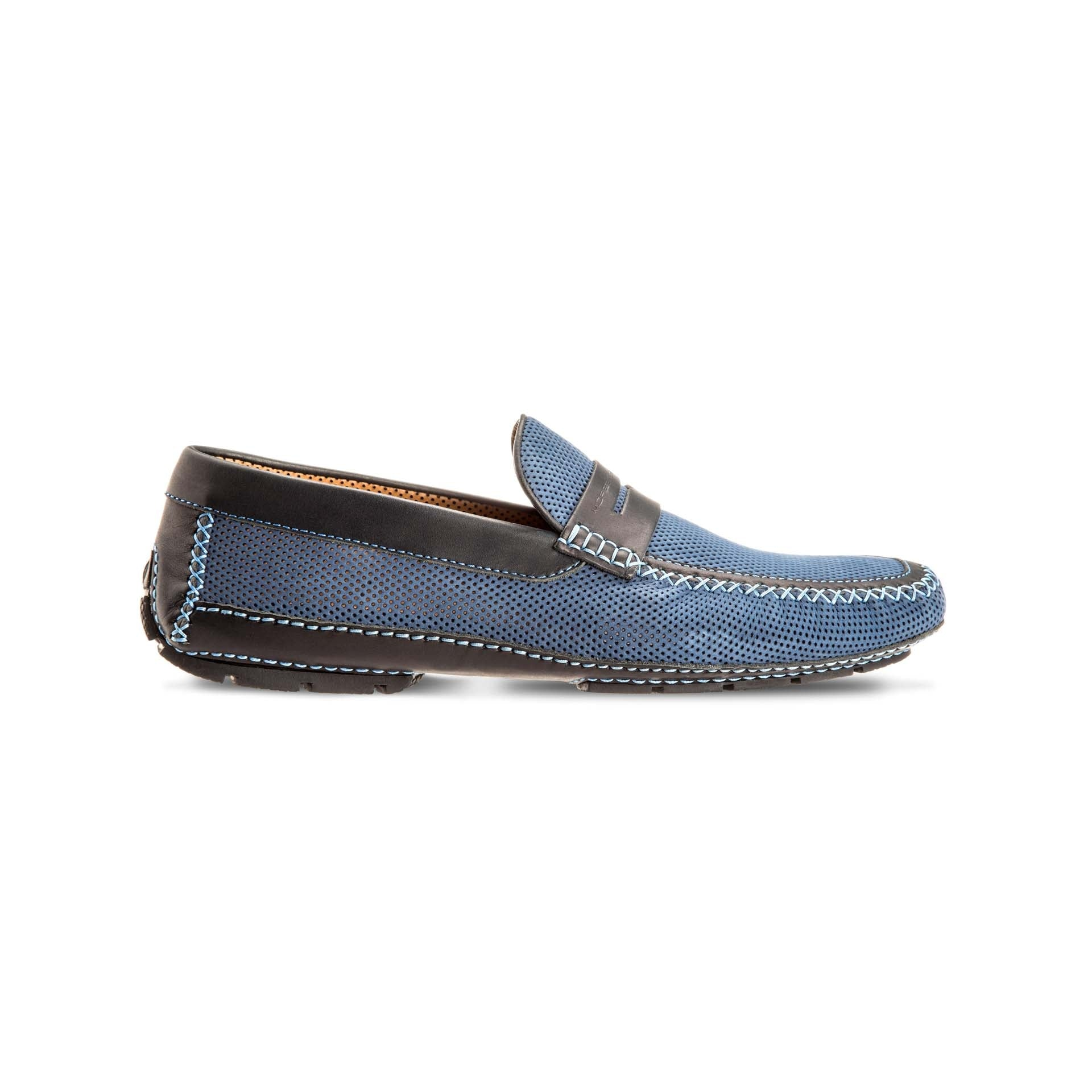 Light blue suede and perforated leather