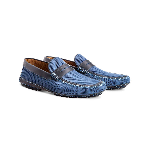 Light blue suede and perforated leather driver shoes