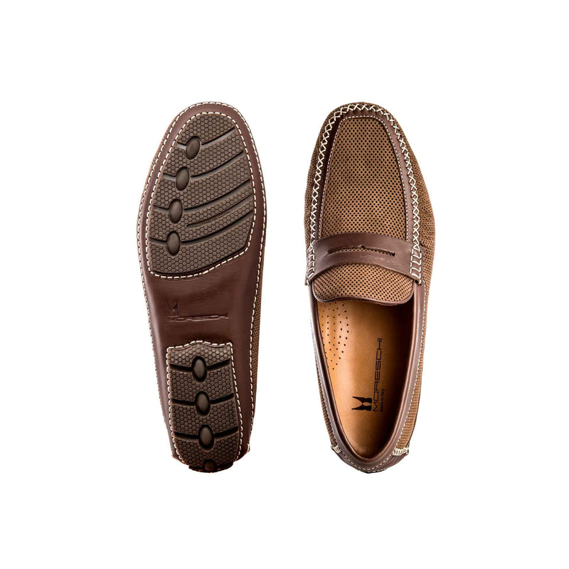 Brown suede and perforated leather driver shoes