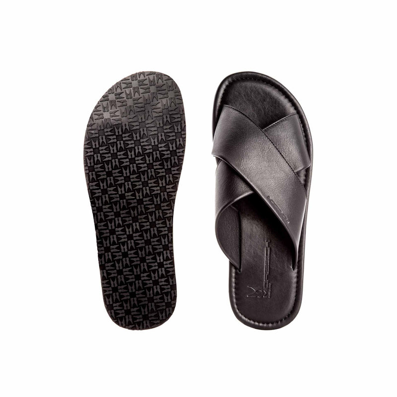 Black soft leather slide shoes classic handmade shoes