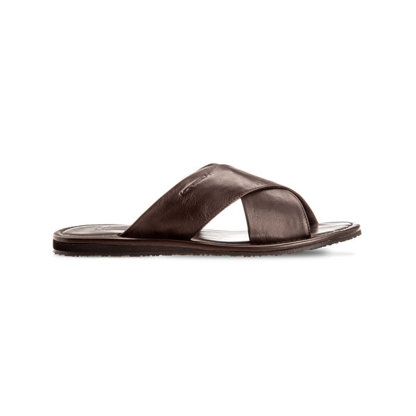 Brown soft leather slide shoes Luxury italian shoes