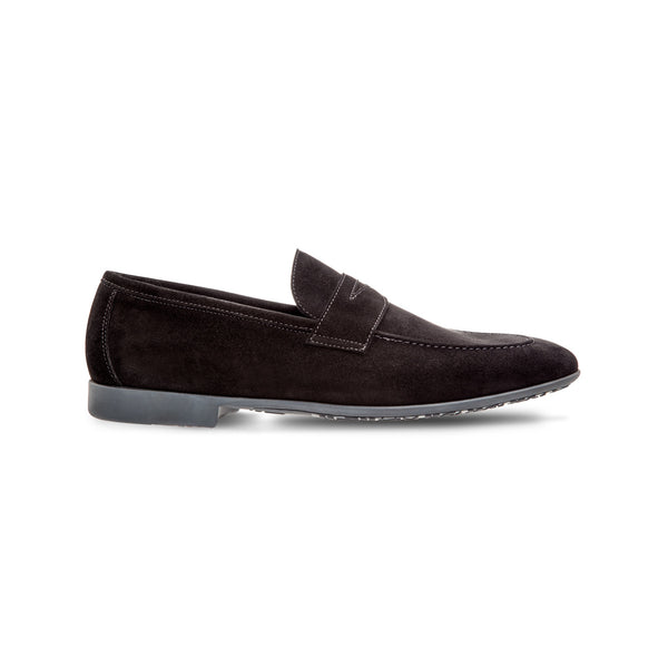 Black suede loafer shoes