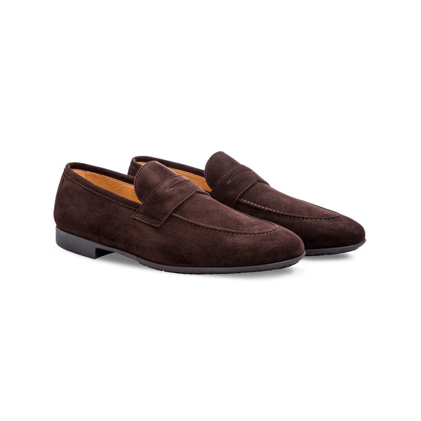 Dark brown suede loafer shoes