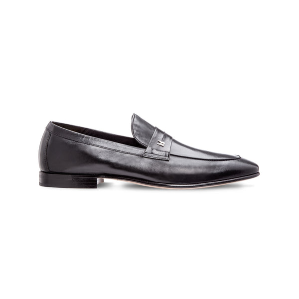 Black leather loafer shoes