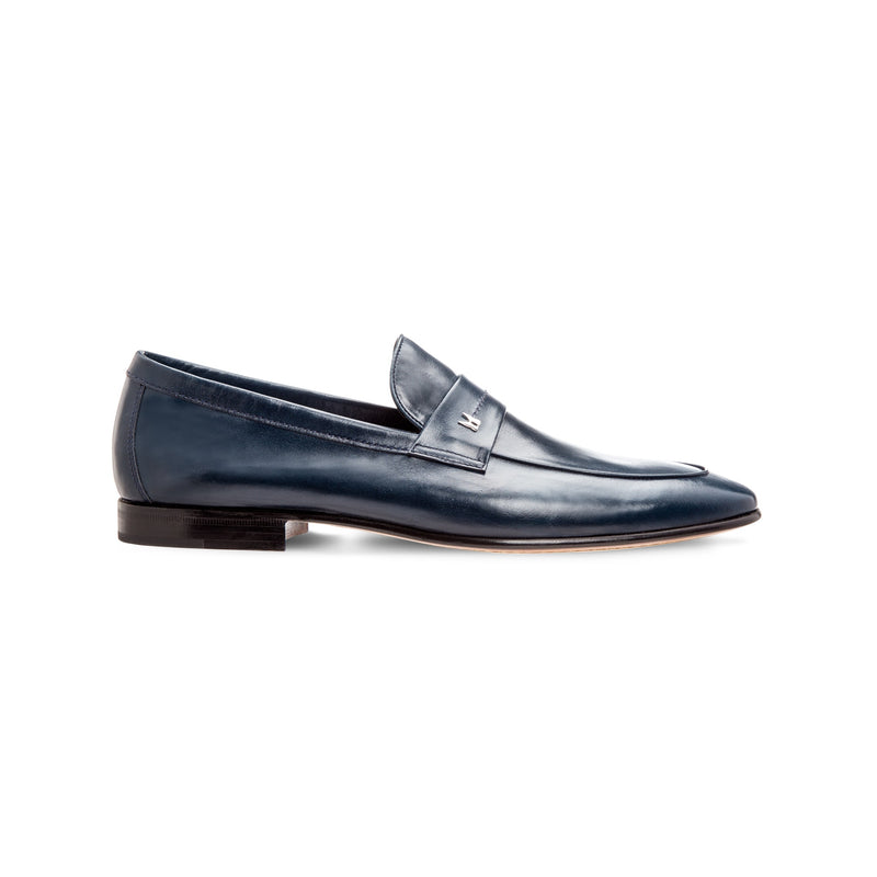 Blue leather loafer shoes