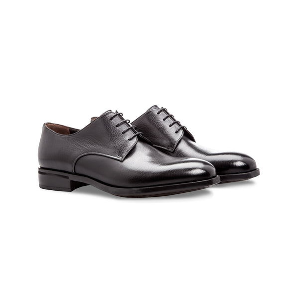 Black buffalo leather derby shoes