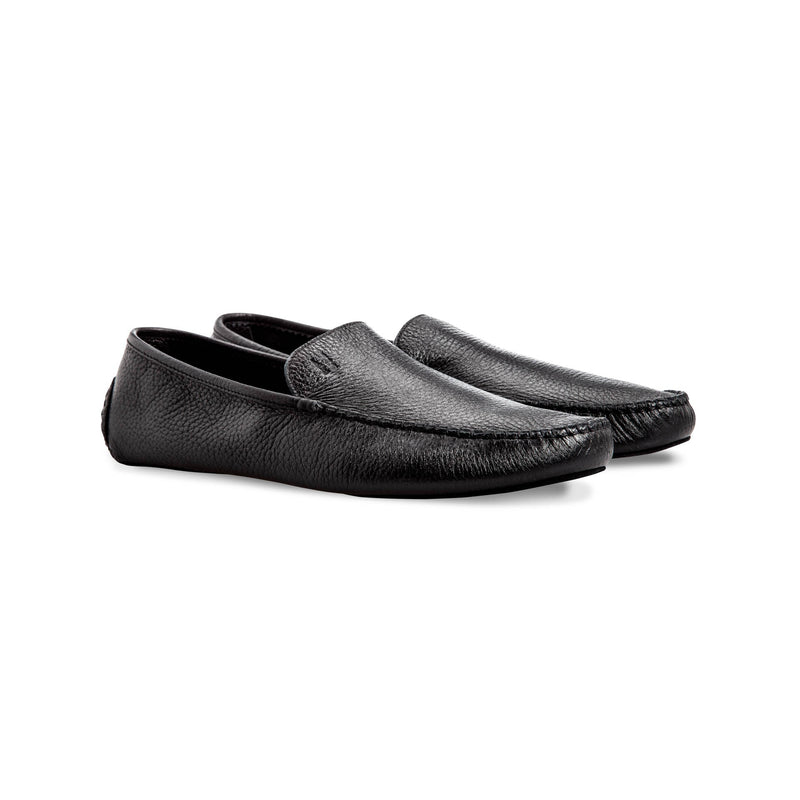 Black deerskin slippers