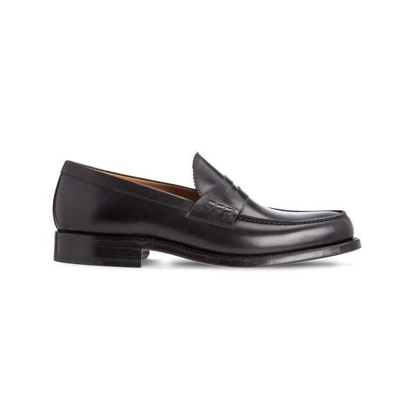 Black calfskin leather loafers Luxury italian shoes