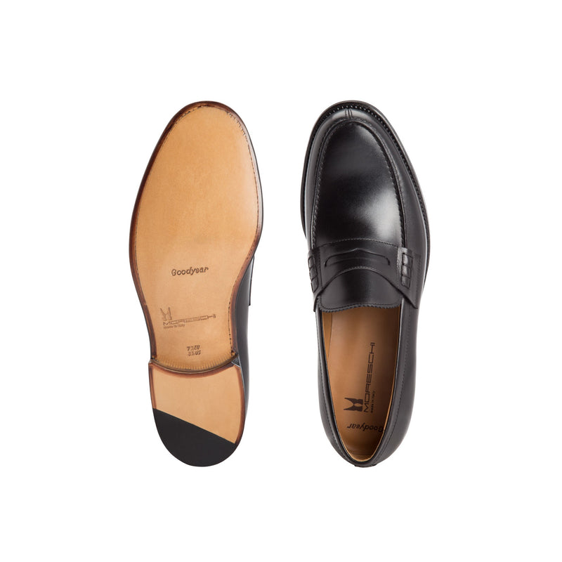 Black calfskin leather loafers Classic handmade shoes