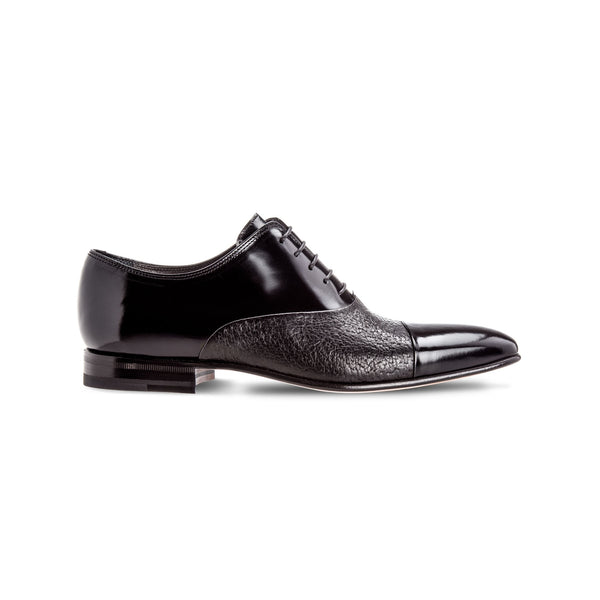 Black two material Oxford shoes Luxury italian shoes