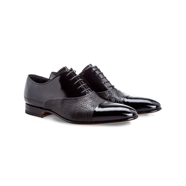 Black two material Oxford shoes Handmade italian shoes