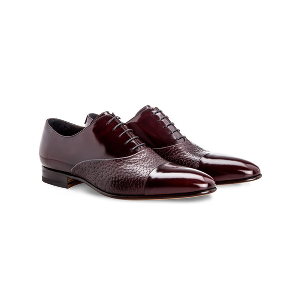 Bordeaux two material Oxford shoes