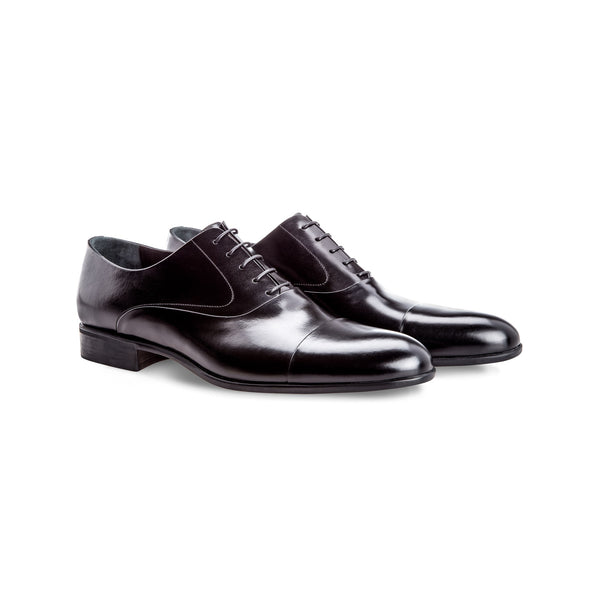 Black calfskin Oxford shoes Handmade italian shoes