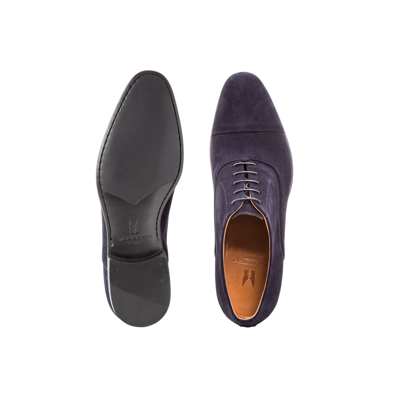 Blue suede Oxford shoes