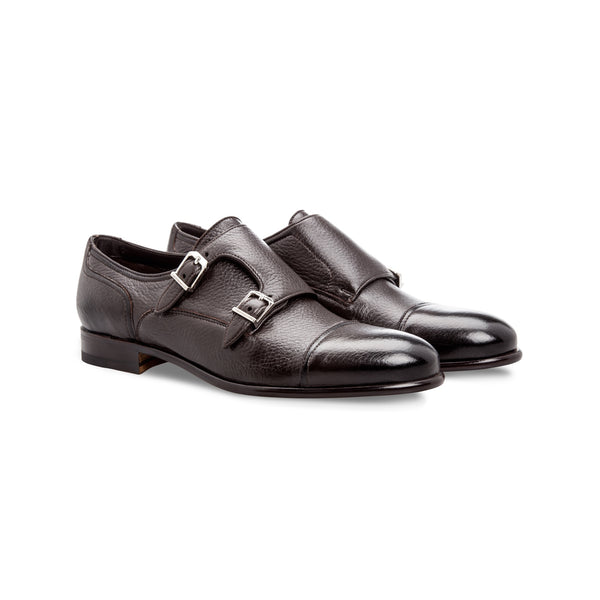 Dark brown deerskin Monk shoes