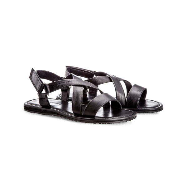 Black soft leather sandals