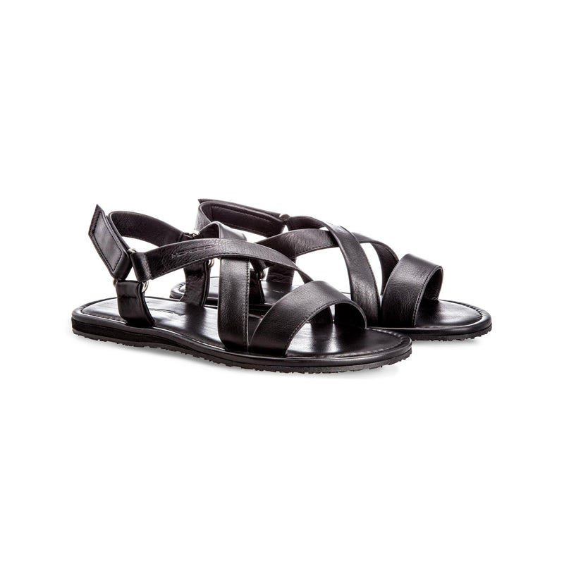 Black soft leather sandals Moreschi Handmade italian shoes