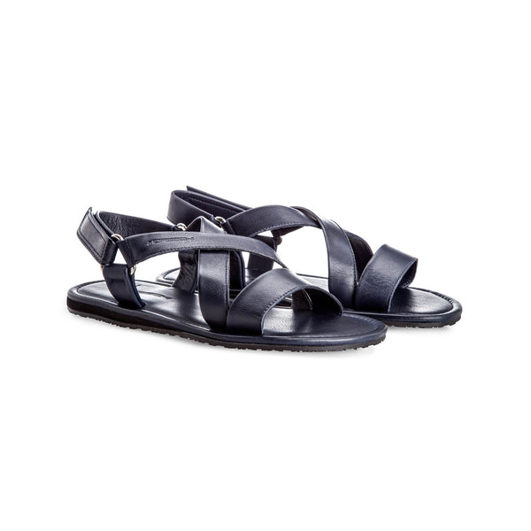 Blue soft leather sandals