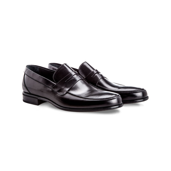 Black calfskin leather loafers Handmade italian shoes