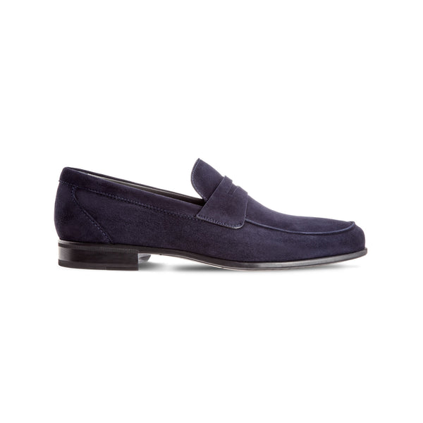 Blue suede loafer shoes