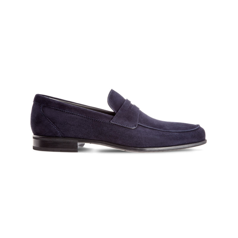 Blue suede loafer shoes Luxury italian shoes