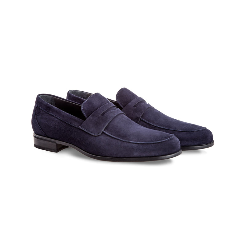 Blue suede loafer shoes Moreschi Handmade italian shoes