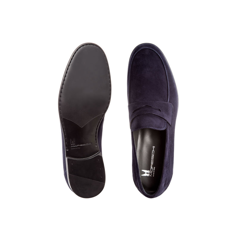 Blue suede loafer shoes classic handmade shoes