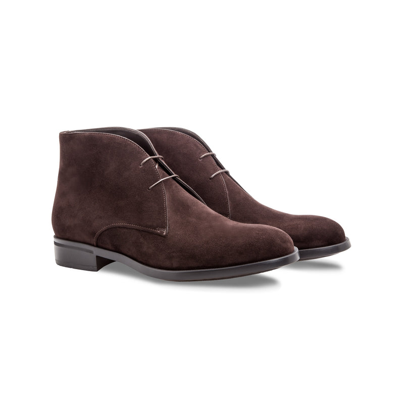 Dark brown suede ankle boots