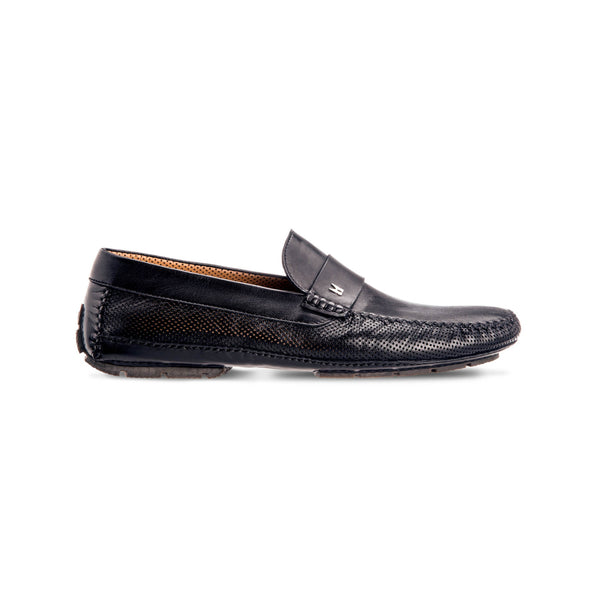 Black perforated leather driver shoes