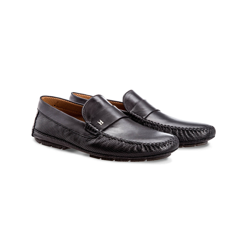 Black perforated leather driver shoes Moreschi Handmade italian shoes
