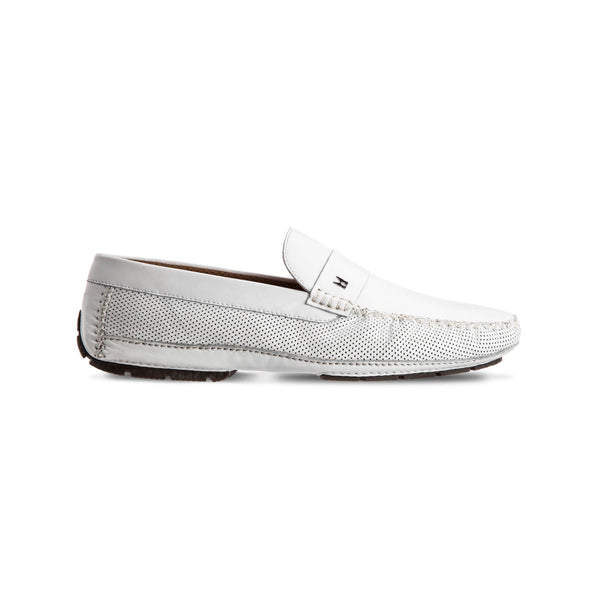 White perforated leather driver shoes