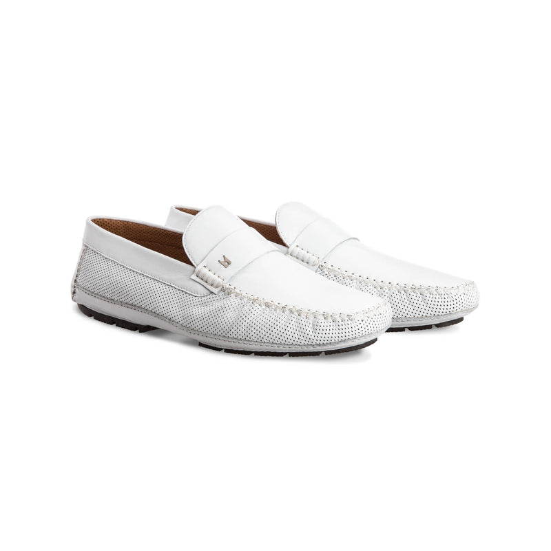 White perforated leather driver shoes Moreschi Handmade italian shoes