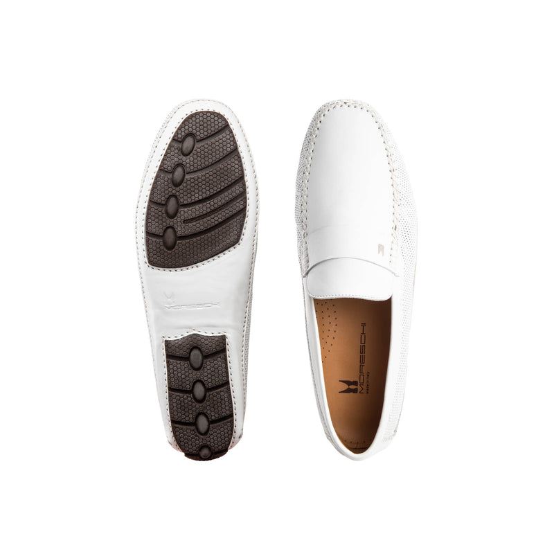 White perforated leather driver shoes classic handmade shoes