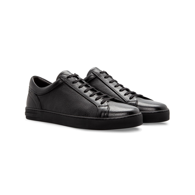 Black deerskin Sneakers Moreschi handmade italian shoes