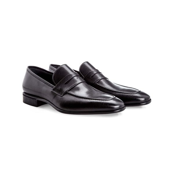 Black buffalo leather loafers Handmade italian shoes