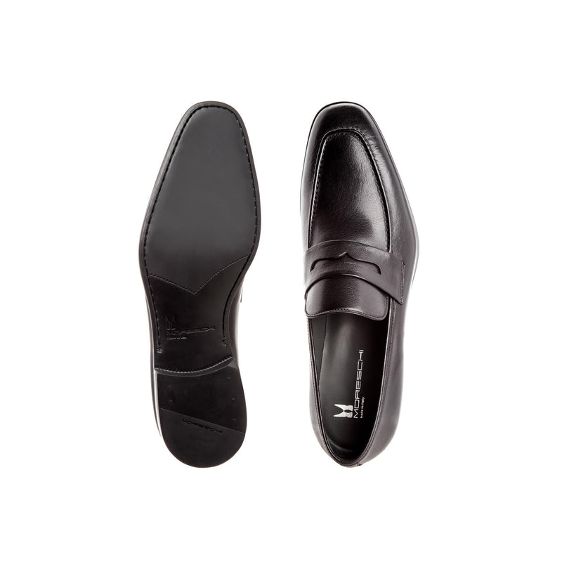 Black buffalo leather loafers Businessman italian shoes