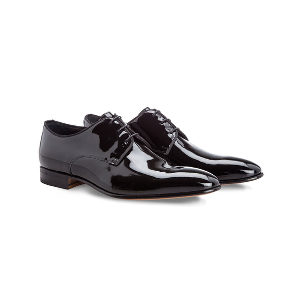 Black patent leather derby shoes
