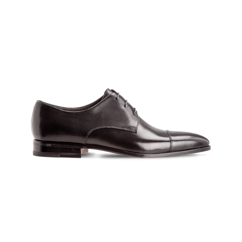 Black buffalo leather derby luxury italian shoes