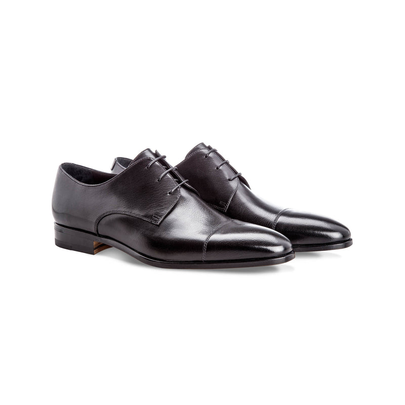 Black buffalo leather derby Handmade italian shoes