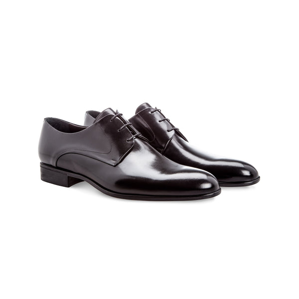 Black calfskin derby shoes Handmade italian shoes