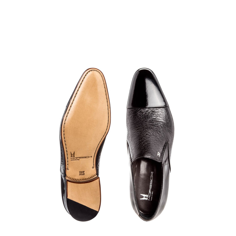 Black two-material loafers