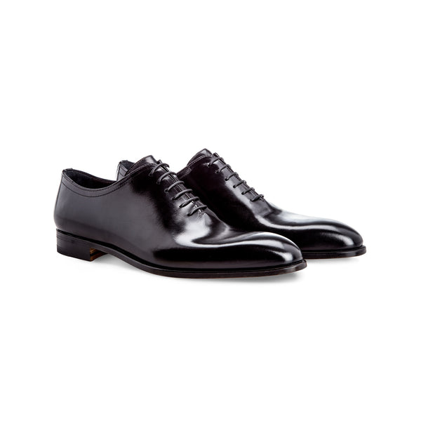 Black antiqued calfskin Oxford Handmade Italian shoes