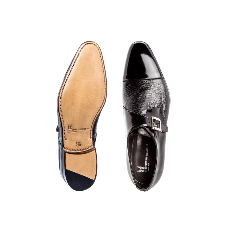 Black two material Monk shoes
